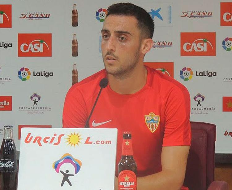 Sergio Aguza, ex jugador del Córdoba CF, en rueda de prensa