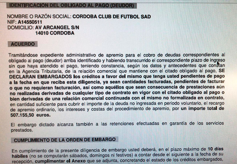 El documento de Hacienda enviado a los patrocinadores del Córdoba CF