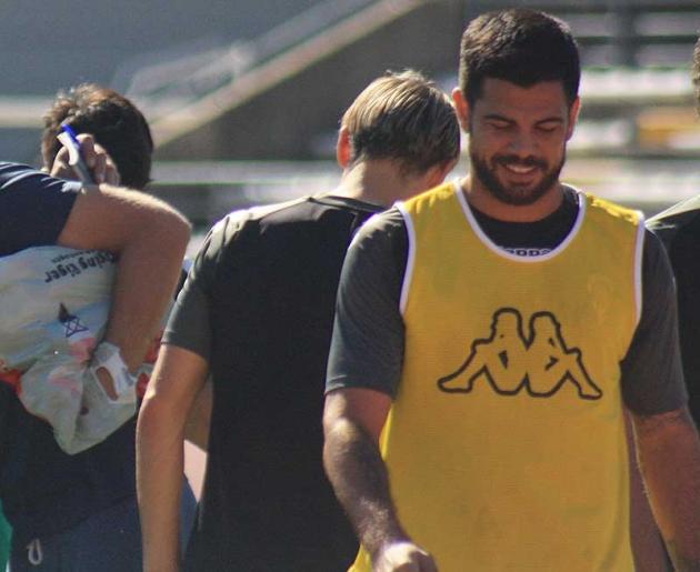 Aythami Artiles en uno de sus último entrenamientos en El Arcángel en enero