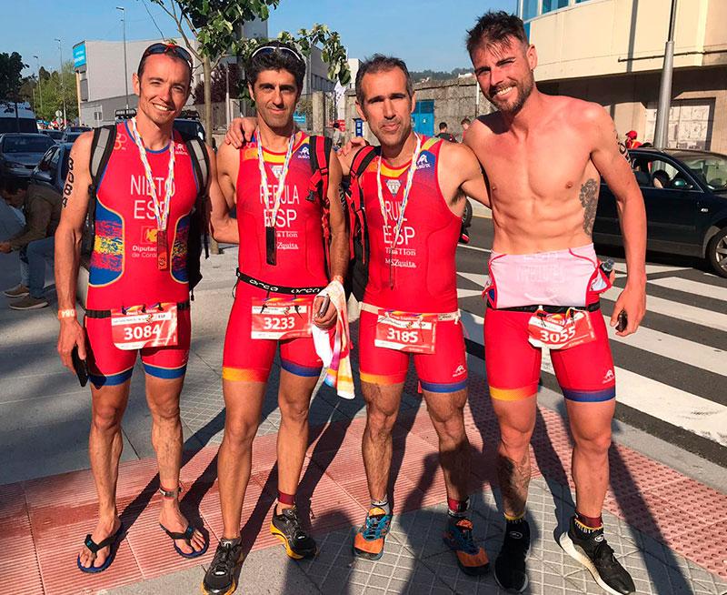 Juan Carlos Nieto junto a otros tres cordobeses que participaron en el Mundial de Pontevedra en las categorías por edades