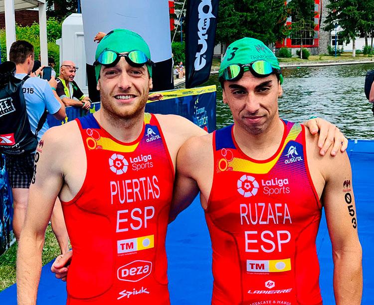 Camilo Puertas junto al malagueño Rubén Ruzafa, medallista de plata en el Europeo Multiaventura de Rumanía