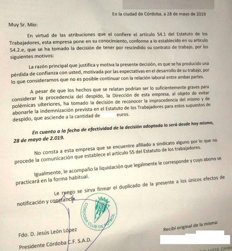 La carta de despido que recibieron los cuatro empleados no deportivos del Córdoba CF hace justo una semana