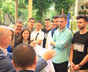 Algunos de los jugadores del Córdoba CF Futsal en lo actos de la semana pasada