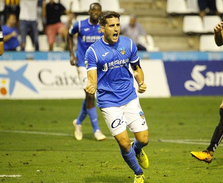 Juanto Ortuño celebrando uno de sus muchos goles en Lleida este curso