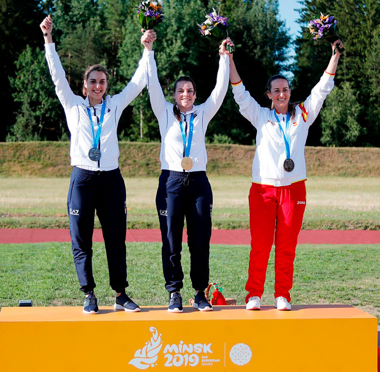 Fátima Gálvez en el podio de Minsk junto a las dos italianas