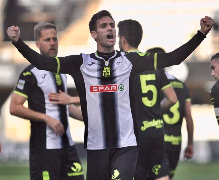 Rubén Cruz celebrando un gol con el Cartagena