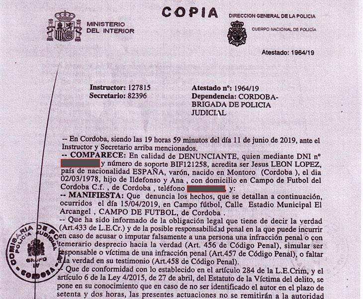 La denuncia que el Córdoba CF presentó ante el departamento de delitos telemáticos de la policía nacional