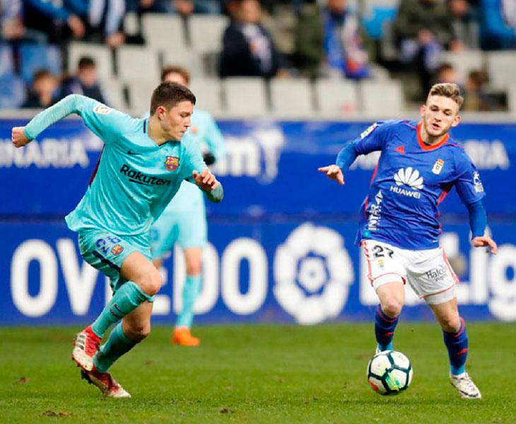 El joven extremo Viti en un partido ante el filial del Barça