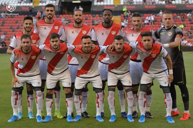 Andrés Martín y Piovaccari formando en un once del Rayo de pretemporada junto a los también ex-cordobesistas Alberto y Bebé.