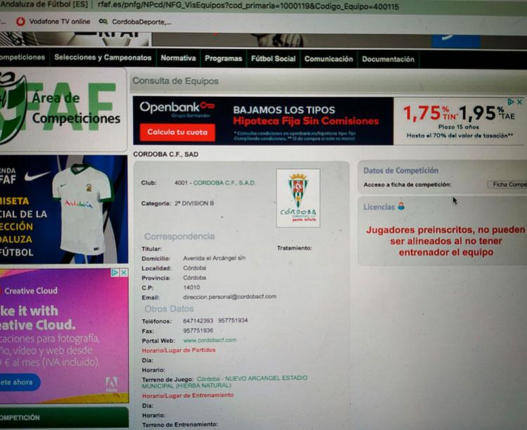 La imagen que aparece en estos momentos en el apartado de competiciones en la web oficial de la Federación Andaluza sobre la situación del Córdoba CF