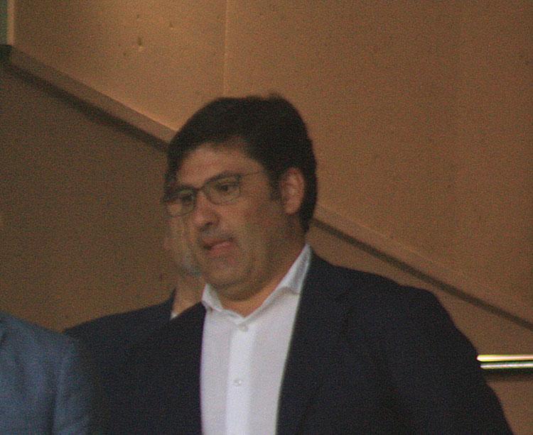 Jesús León en su última aparición en el palco de El Arcángel ante el Rayo Vallecano