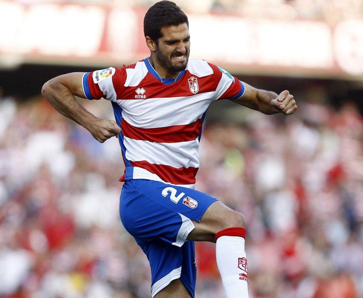 Bernardo Cruz celebrando un gol con el Granada en el final de la liga pasada. Foto: @bernardo_cruz8