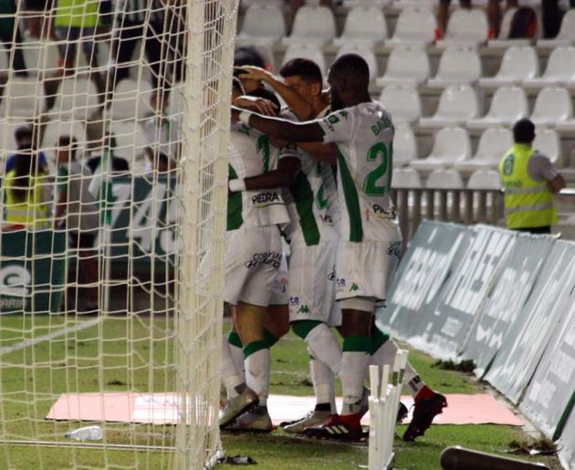 Celebración del gol por parte de los jugadores del Córdoba CF ante el Almería UD