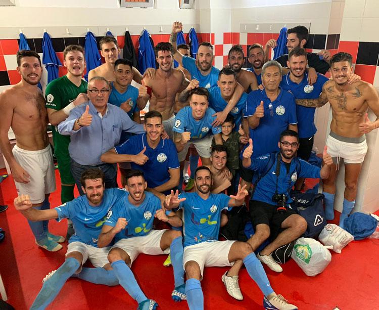 La celebración de los jugadores del Ciudad en su vestuario. Foto: @ciudaddelucena