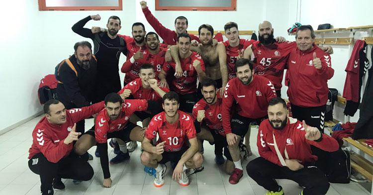 La felicidad de los jugadores granates en Ciudad Real. Foto: Cajasur CBM