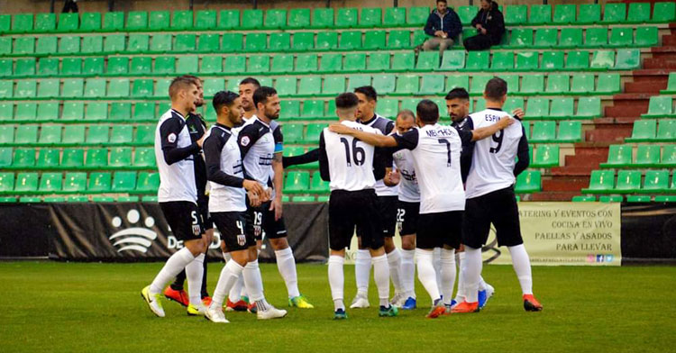 Los jugadores extremeños celebrando un tanto. Foto: AD Mérida