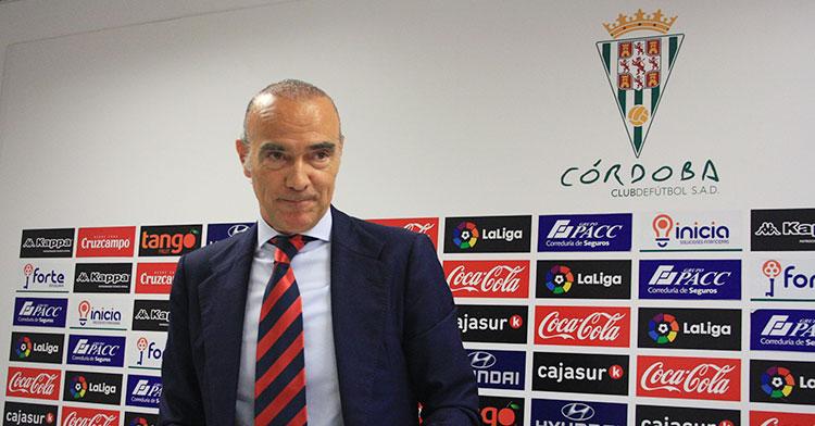 Luis Oliver en su última aparición en la sala de prensa de El Arcángel en julio de 2018