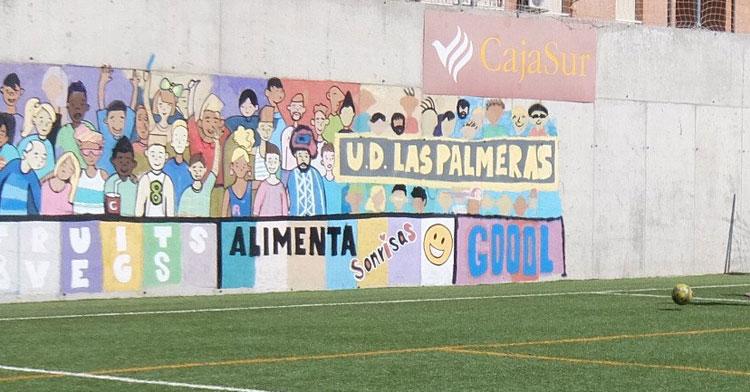 Una imagen del mural del campo de fútbol de Las Palmeras
