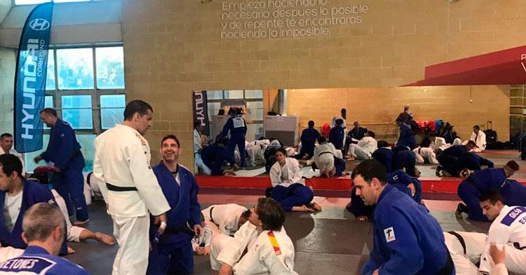 La V concentración Judomáster Córdoba en acción en una de las salas anexas del Vista Alegre.