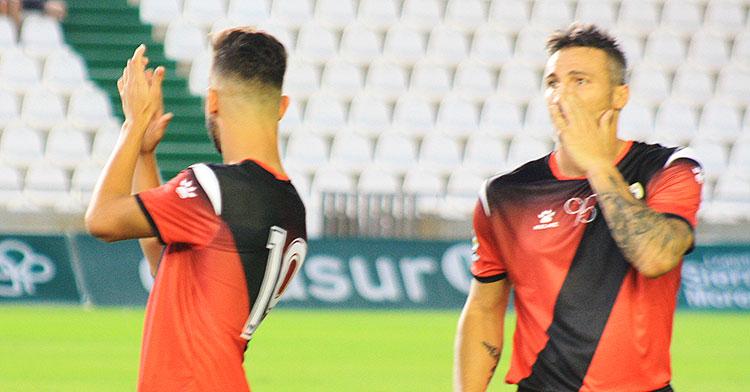Piovaccari, junto a Andrés Martín, en el partido de presentación ante el Rayo Vallecano del pasado verano.