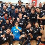 Los jugadores murcianistas celebrando su victoria en Algeciras. Foto: Real Murcia