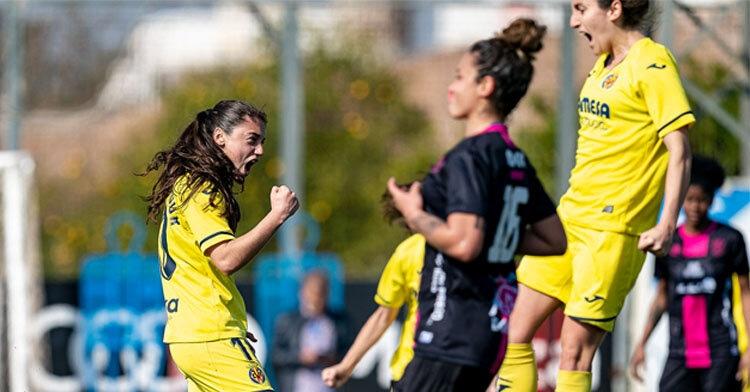 Las chicas del Villarreal celebrando un gol ante el Pozoalbense. Firma: Villarreal CF