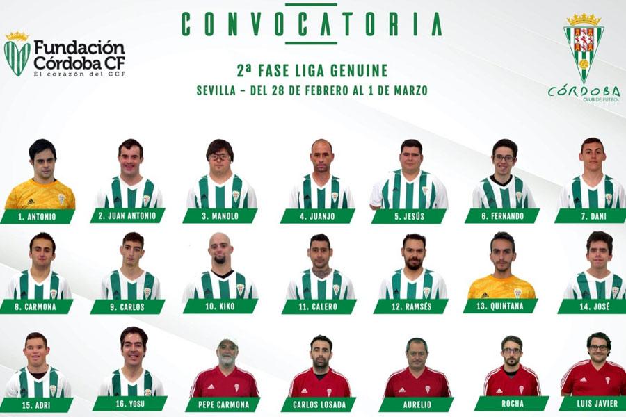 La convocatoria del Córdoba Genuine para Sevilla