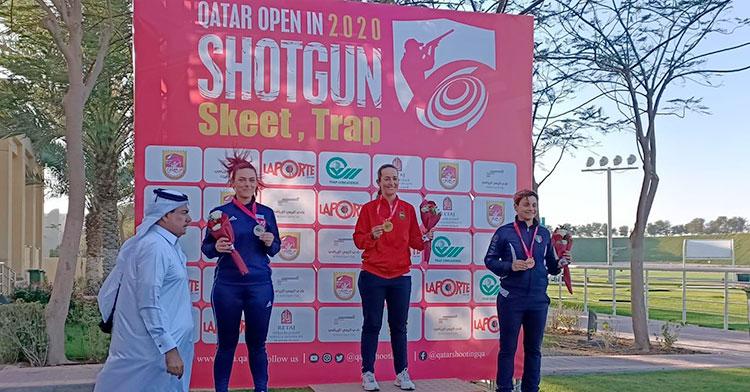 Fátima Gálvez en lo más alto del podio de Qatar.