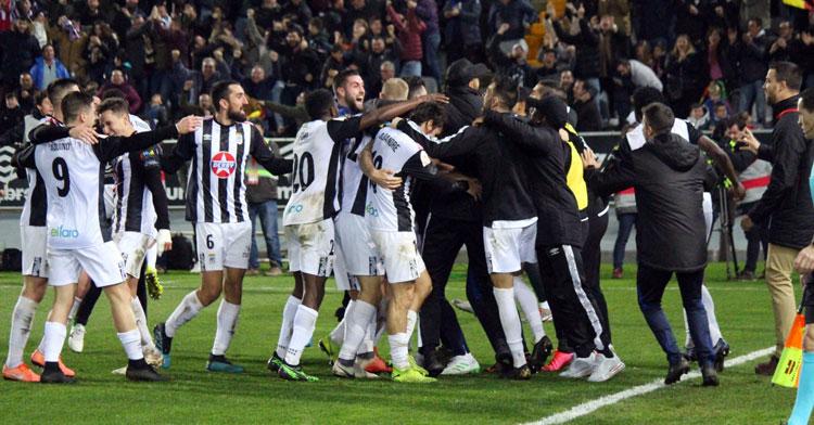 El cuadro pacense celebrando un tanto en un partido reciente. Foto: CD Badajoz