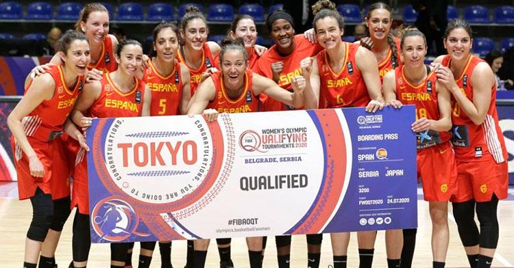 La selección española femenina celebrando su pasaporte para Tokio 2020 logrado el pasado domingo.