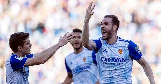 Atienza celebrando su gol esta temporada con el Real Zaragoza. Foto: El Desmarque