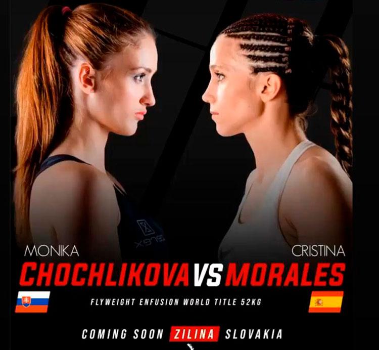 Cristina Morales, a la derecha, en el cartel del evento que le medirá a la checa Monika Chochlikova.