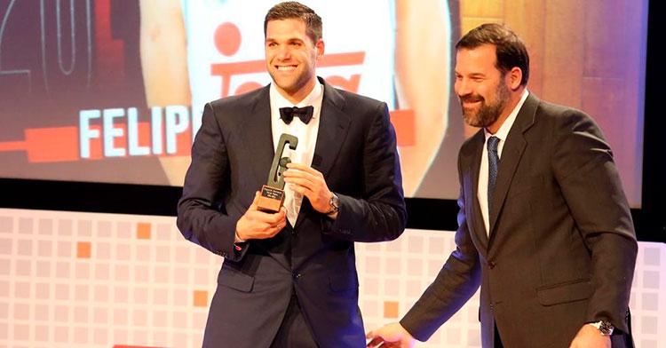 Alfonso y Felipe Reyes en una reciente entrega de premios.
