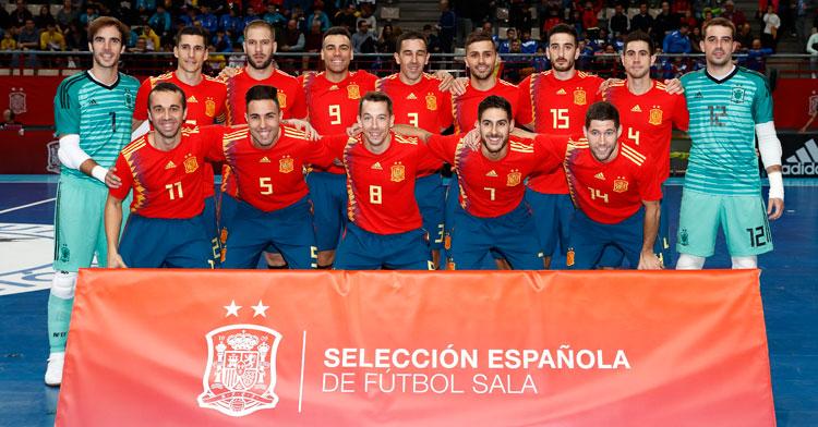 La selección española de fútbol sala en uno de sus últimos compromisos. Foto: @SeFutbol