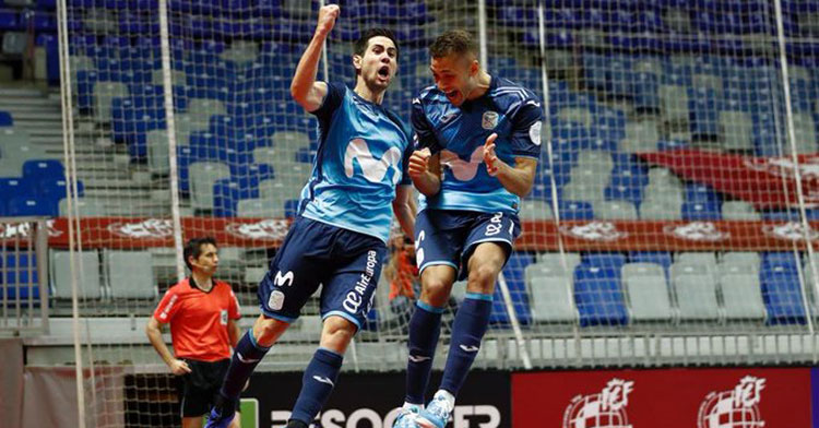 Bebé celebra su gol, clave en la victoria. Foto: Movistar Inter FS