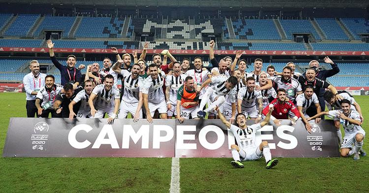 Los jugadores del Castellón celebrando su gesta. Foto: RFEF