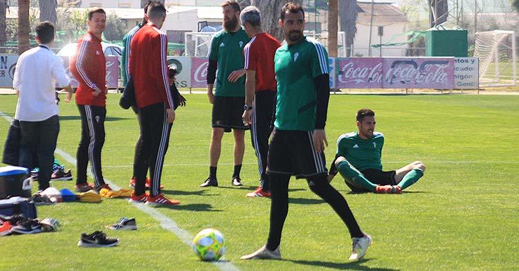 Miguel de las Cuevas en el último entrenamiento de la plantilla del Córdoba allá por el 11 de marzo.