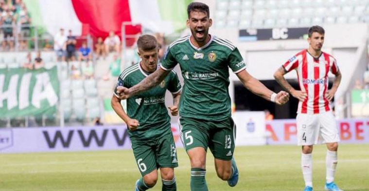 Israel Puerto celebrando su primer gol con el Slask Wroclaw polaco.Israel Puerto celebrando su primer gol con el Slask Wroclaw polaco.