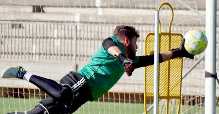 Javi de la Fuente en un entrenamiento con el primer equipo del Córdoba CF. Foto: CCF