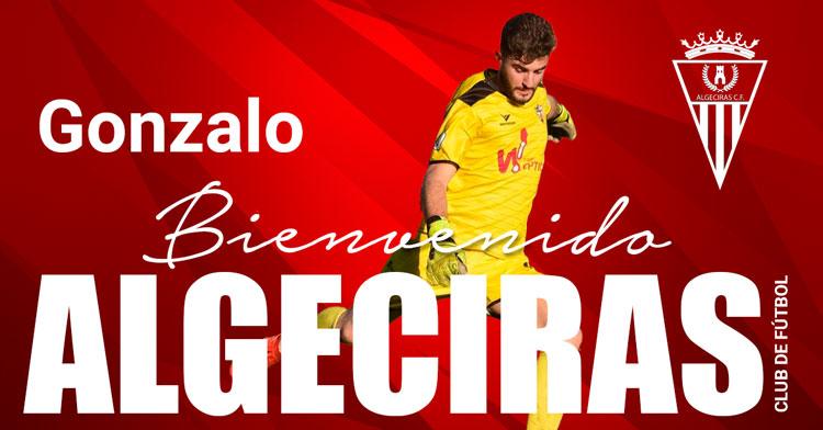 El cartelón que anunció el fichaje de Gonzalo por el Algeciras. Imagen: Algeciras CF