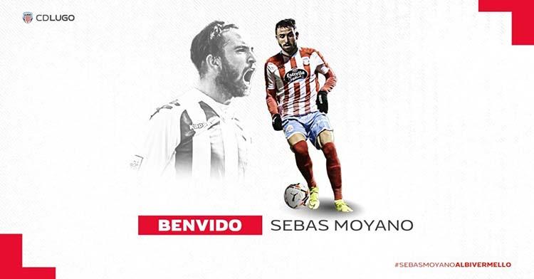 La imagen de Sebas con los colores del Lugo anunciada esta tarde por el club gallego.