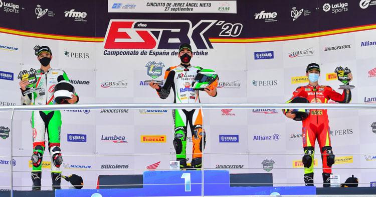 Ángel Heredia en el podio de Jerez. Foto: Sotoca