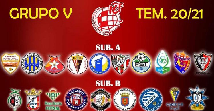 Los escudos de los clubes participantes en el Grupo V de la Segunda B de fútbol sala. Imagen publicada en @bujalancefs