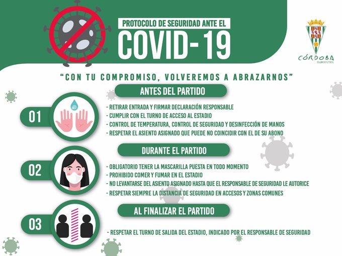El protocolo anticovid del Córdoba CF para el debut liguero ante el Lorca en El Arcángel.