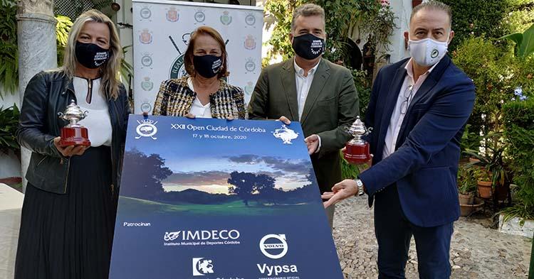 Isabel Albas, Maria del Mar Romero, Manuel Torrejimeno y Javier Fernández presentando el cartel de la XXII edición del Open Ciudad de Córdoba.