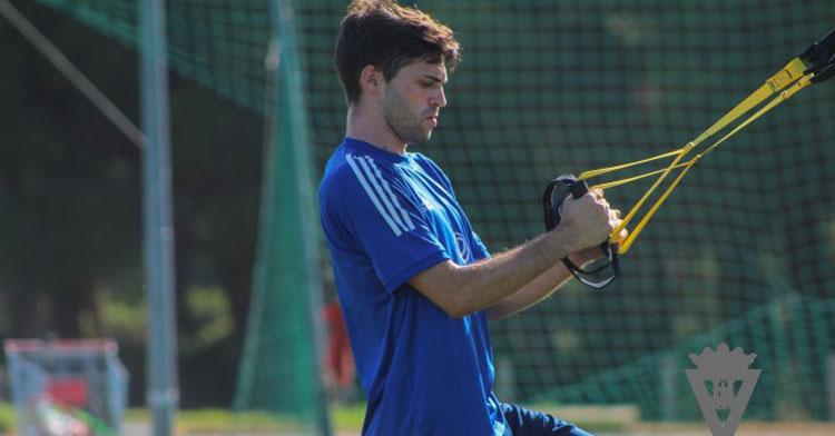 David Carmona en un entrenamiento en El Rosal. Foto: Cádiz CF