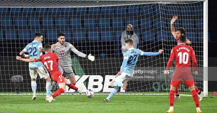 Miguel Baeza instantes antes de hacer su primer gol en Primera al Granada.