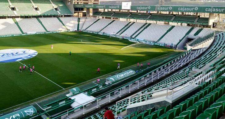 Imagen de El Arcángel en el primer partido jugado a puerta cerrada ante el Sevila Atlético.