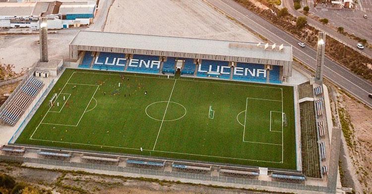 Imagen aérea del estadio Municipal de Lucena.