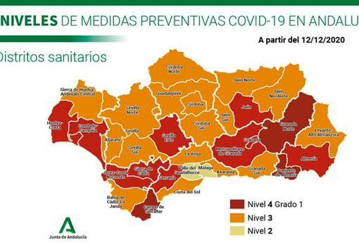El mapa de Andalucía que rebaja al nivel 3 a toda la provincia de Córdoba.El mapa de Andalucía que rebaja al nivel 3 a toda la provincia de Córdoba.
